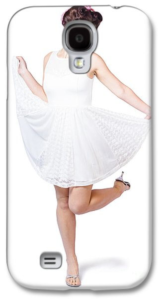Full Skirt Galaxy S4 Cases - 50s Pinup Woman In White Dress Dancing Galaxy S4 Case by Ryan Jorgensen