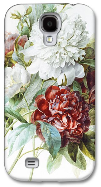 Tasteful Art Galaxy S4 Cases - A Bouquet of Red Pink and White Peonies Galaxy S4 Case by Pierre Joseph Redoute