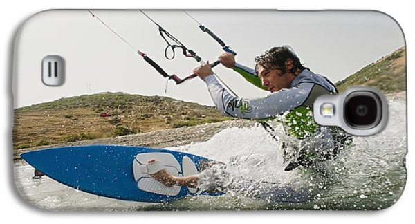 Kite Surfing Galaxy S4 Cases - A Man Kite Surfing Off The Coast Of Galaxy S4 Case by Ben Welsh