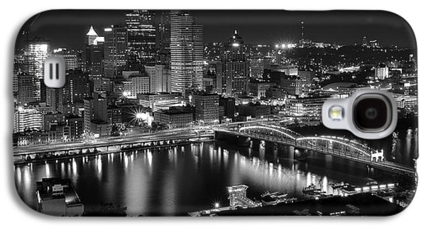 Town Square Galaxy S4 Cases - A Pittsburgh Night Galaxy S4 Case by Frozen in Time Fine Art Photography