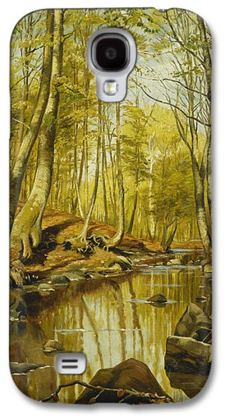 Woodlands Scene Paintings Galaxy S4 Cases - A Wooded River Landscape Galaxy S4 Case by Peder Monsted