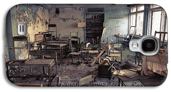 Chair Pyrography Galaxy S4 Cases - Abandoned school in Chernobyl 2012 March 14 Galaxy S4 Case by Oliver Sved
