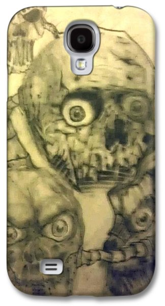 Abstract Collage Drawings Galaxy S4 Cases - Abstract Skulls Galaxy S4 Case by Charlie Mcginness
