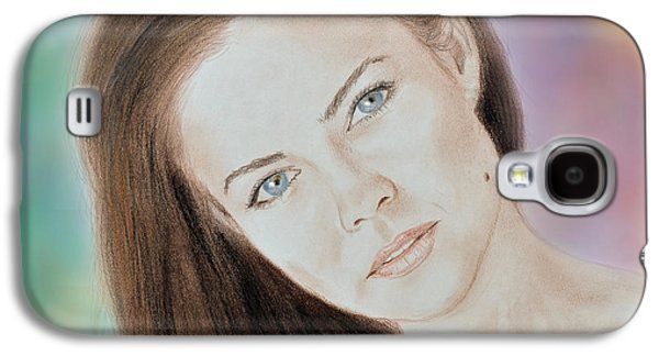 Beauty Mark Mixed Media Galaxy S4 Cases - Actress and Model Susan Ward Blue Eyed Beauty with a Mole Galaxy S4 Case by Jim Fitzpatrick