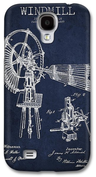 Windmill Galaxy S4 Cases - Aldrich Windmill Patent Drawing From 1889 - Green Galaxy S4 Case by Aged Pixel