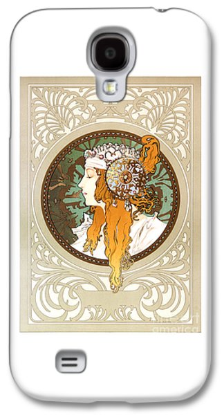 Byzantine Paintings Galaxy S4 Cases - Alphonse Mucha - Byzantine Head - Brunette - 1897 Galaxy S4 Case by Pablo Romero