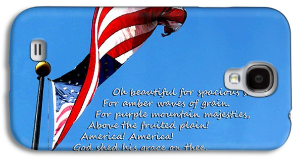 American Flag Mixed Media Galaxy S4 Cases - America The Beautiful - US Flag By Sharon Cummings Song Lyrics Galaxy S4 Case by Sharon Cummings