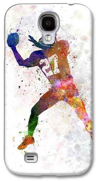 American Football Paintings Galaxy S4 Cases - American Football Player Man Catching Receiving Galaxy S4 Case by Pablo Romero