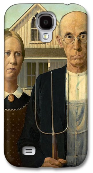 Gothic Paintings Galaxy S4 Cases - American Gothic Galaxy S4 Case by Grant Wood