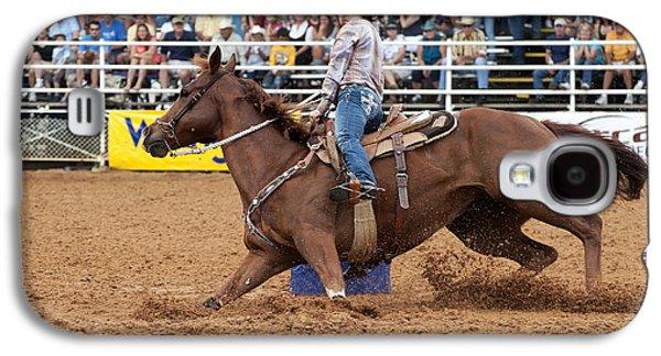 Wild Racers Galaxy S4 Cases - American Rodeo Female Barrel Racer White Blaze Chestnut Horse II Galaxy S4 Case by Sally Rockefeller