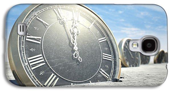 Clock Galaxy S4 Cases - Antique Clocks In Desert Sand Galaxy S4 Case by Allan Swart