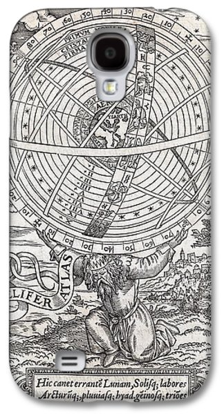 Cosmological Galaxy S4 Cases - Atlas Cosmology, 16th Century Artwork Galaxy S4 Case by Middle Temple Library