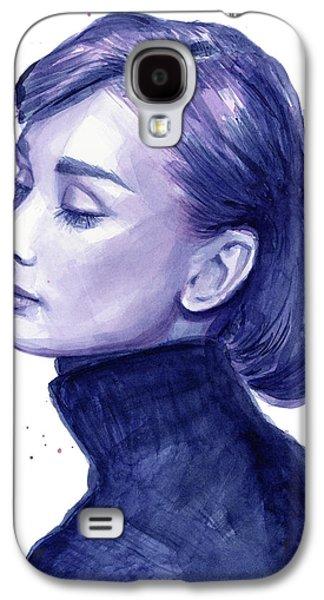 Black And White Art Galaxy S4 Cases - Audrey Hepburn Portrait Galaxy S4 Case by Olga Shvartsur