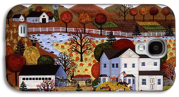 Horse And Buggy Paintings Galaxy S4 Cases - Autumn Hayride Galaxy S4 Case by Jane Wooster Scott