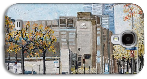 Quebec Streets Paintings Galaxy S4 Cases - Autumn in the City Galaxy S4 Case by Reb Frost