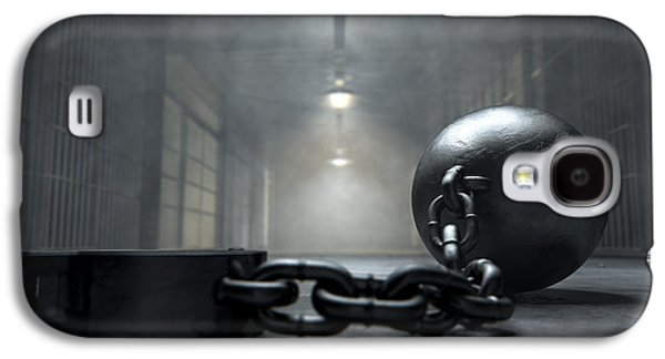 Slavery Digital Art Galaxy S4 Cases - Ball And Chain In Prison Galaxy S4 Case by Allan Swart