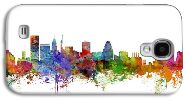 Baltimore Galaxy S4 Cases - Baltimore Maryland Skyline Galaxy S4 Case by Michael Tompsett