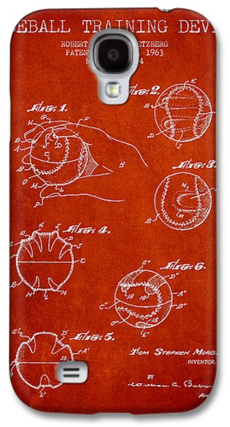 Baseball Glove Galaxy S4 Cases - Baseball Training Device Patent Drawing From 1963 Galaxy S4 Case by Aged Pixel