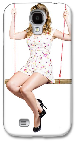 Makeshift Galaxy S4 Cases - Beautiful fifties pin up girl smiling on swing Galaxy S4 Case by Ryan Jorgensen