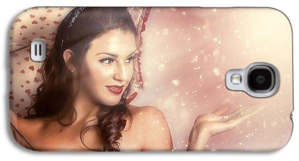 Strapless Dress Galaxy S4 Cases - Beautiful woman catching rain in summer sun shower Galaxy S4 Case by Ryan Jorgensen