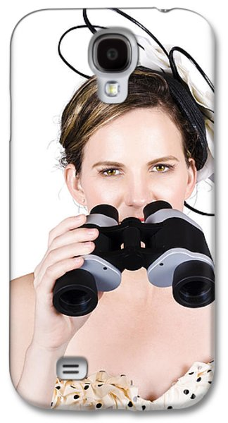 Strapless Dress Galaxy S4 Cases - Beautiful Young Woman With Binoculars Galaxy S4 Case by Ryan Jorgensen