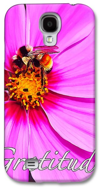 Fuzzy Digital Art Galaxy S4 Cases - Bee on Pink - Gratitude Galaxy S4 Case by Bill Caldwell -        ABeautifulSky Photography