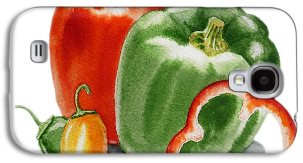 Pepper Paintings Galaxy S4 Cases - Bell Peppers Jalapeno Galaxy S4 Case by Irina Sztukowski