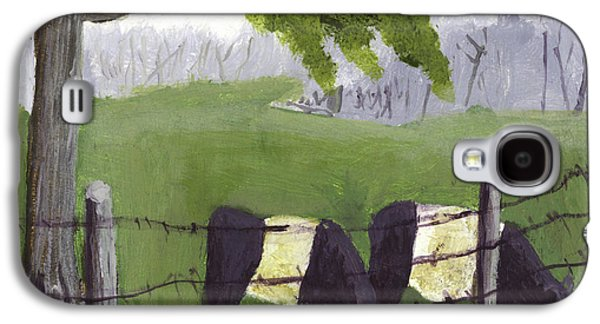 Maine Meadow Galaxy S4 Cases - Belted Galloway Cows in Rockport Maine Galaxy S4 Case by Keith Webber Jr