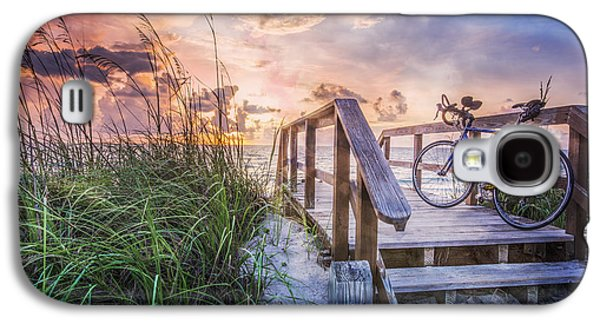 Sanddunes Galaxy S4 Cases - Bicycle at the Beach Galaxy S4 Case by Debra and Dave Vanderlaan