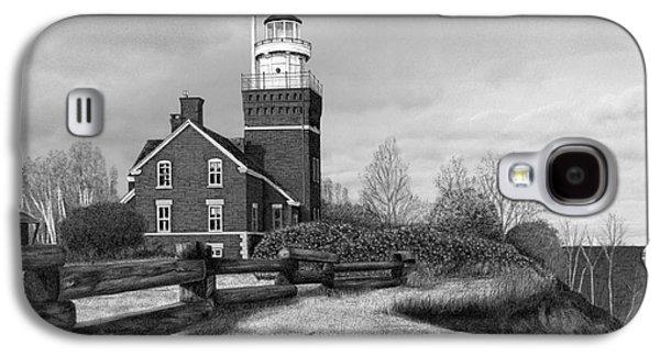 Darren Mixed Media Galaxy S4 Cases - Big Bay Point Lighthouse Galaxy S4 Case by Darren Kopecky