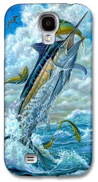 Marlin Galaxy S4 Cases - Big Jump Blue Marlin With Mahi Mahi Galaxy S4 Case by Terry  Fox