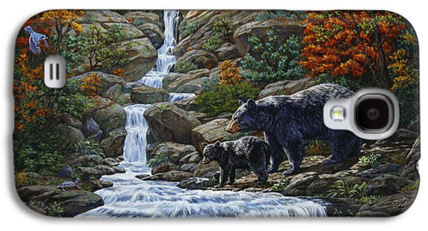 Waterfalls Paintings Galaxy S4 Cases - Black Bear Falls Galaxy S4 Case by Crista Forest