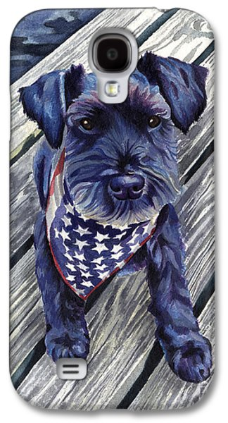 Independence Day Paintings Galaxy S4 Cases - Blue Black Dog on Pier Galaxy S4 Case by Robyn Saunders
