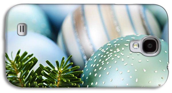 Festivities Galaxy S4 Cases - Blue Christmas ornaments Galaxy S4 Case by Elena Elisseeva