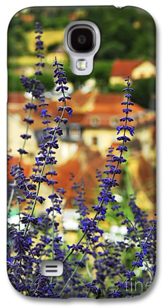 Rooftop Galaxy S4 Cases - Blue flowers and rooftops in Sarlat Galaxy S4 Case by Elena Elisseeva
