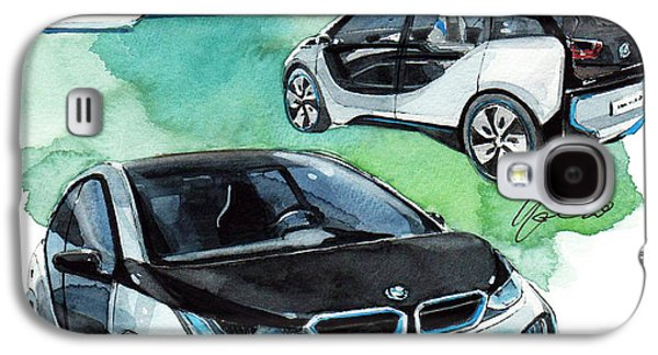 Concept Paintings Galaxy S4 Cases - BMW i3 Concept car Galaxy S4 Case by Yoshiharu Miyakawa
