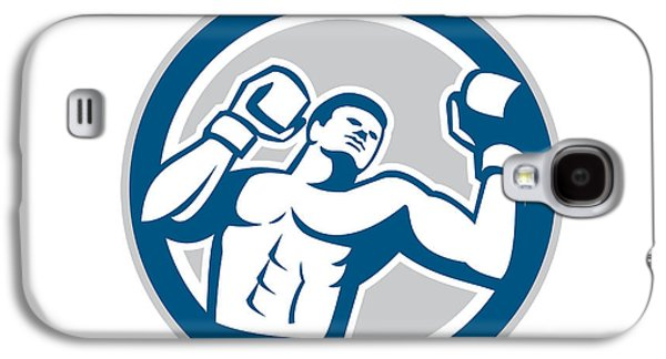 Heavyweight Digital Galaxy S4 Cases - Boxer Boxing Boxing Circle Retro Galaxy S4 Case by Aloysius Patrimonio