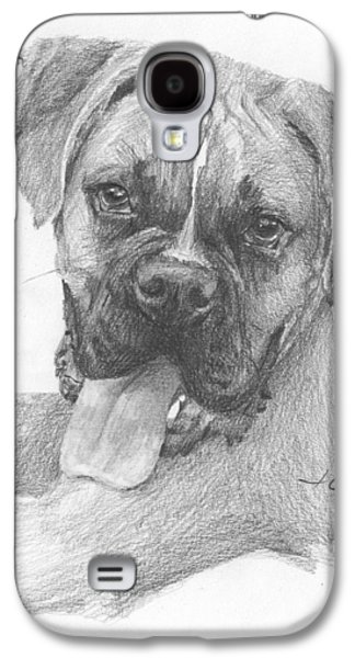 Boxer Drawings Galaxy S4 Cases - Boxer Dog Pencil Portrait Galaxy S4 Case by Mike Theuer