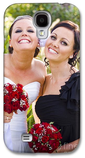 Strapless Dress Galaxy S4 Cases - Bride With Maid-Of-Honor Galaxy S4 Case by Ryan Jorgensen