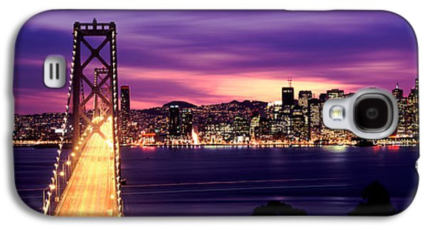 Downtown San Francisco Galaxy S4 Cases - Bridge Lit Up At Dusk, Bay Bridge, San Galaxy S4 Case by Panoramic Images