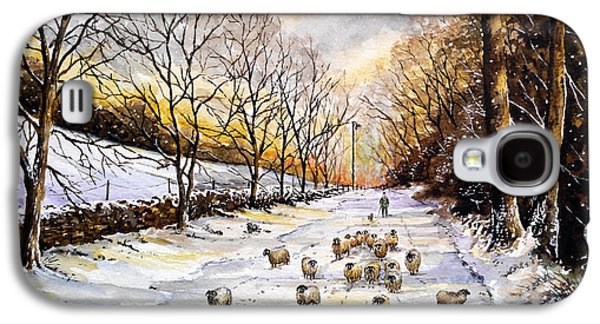 Snow Scene Landscape Paintings Galaxy S4 Cases - Bringing home the sheep Galaxy S4 Case by Andrew Read