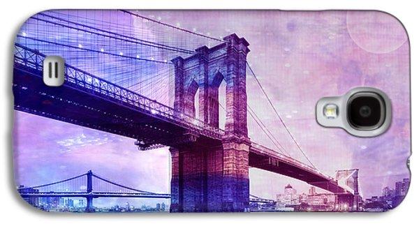 Graph Mixed Media Galaxy S4 Cases - Brooklyn bridge Galaxy S4 Case by Neha Rautela