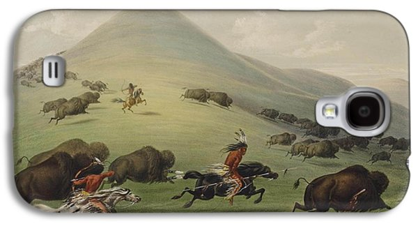 Steer Paintings Galaxy S4 Cases - Buffalo hunt Galaxy S4 Case by George Catlin