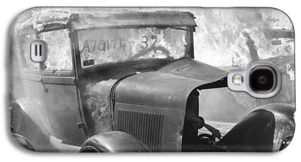 Trash Galaxy S4 Cases - Burning Car Circa 1942  Galaxy S4 Case by Aged Pixel