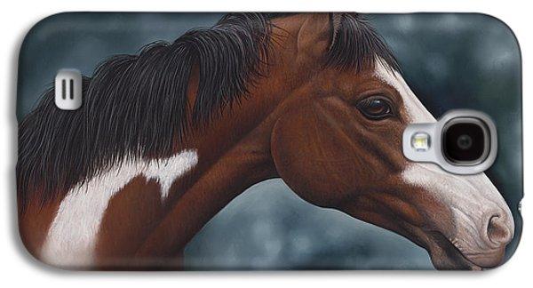 Quarter Horses Galaxy S4 Cases - Cara Blanca Galaxy S4 Case by Ricardo Chavez-Mendez
