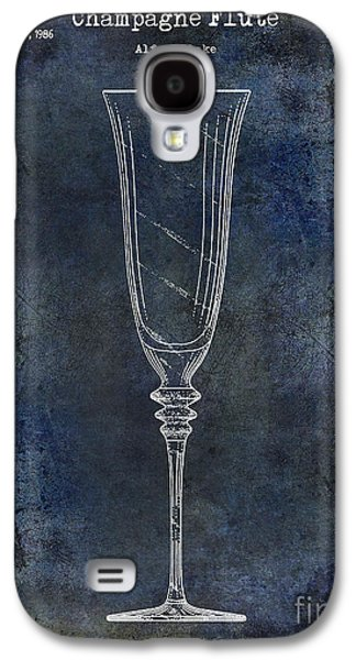 Champagne Glasses Galaxy S4 Cases - Champagne Flute Patent Drawing Blue 2 Galaxy S4 Case by Jon Neidert