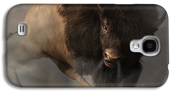 Bison Digital Art Galaxy S4 Cases - Charging Bison Galaxy S4 Case by Daniel Eskridge