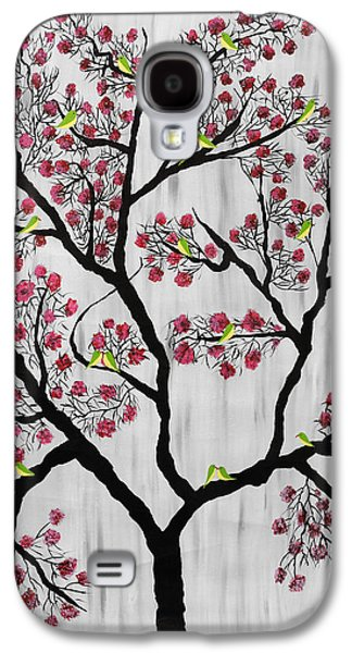 Flock Of Birds Paintings Galaxy S4 Cases - Cherry Blossom Galaxy S4 Case by Sumit Mehndiratta