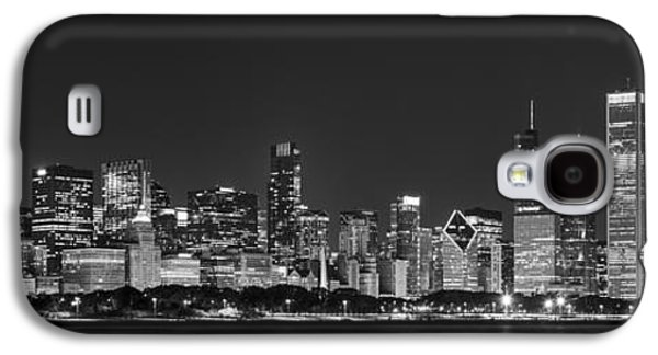 Man Cave Photographs Galaxy S4 Cases - Chicago Skyline at Night Black and White Panoramic Galaxy S4 Case by Adam Romanowicz