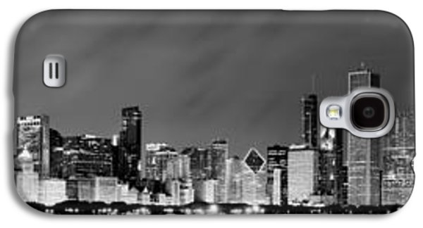 Light Photographs Galaxy S4 Cases - Chicago Skyline at Night in Black and White Galaxy S4 Case by Sebastian Musial